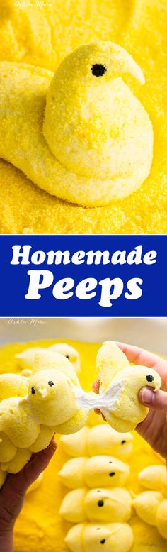 homemade marshmallows are so easy to make and then just pipe them into a peep shape and cover in colored sugar for a sweet easter treat - recipe and video tutorial