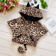 Baby Girls Lovely Outwears Thick Colsplay Cat Model Coat Leopard Hoodies Bat Coat Child Ear Tail Little Devil for Christmas Gift(China (Mainland))
