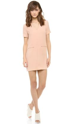 ROSE | T by Alexander Wang Drape Suiting V Neck Dress