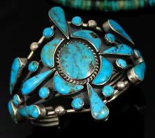 Old pawn Navajo turquoise cuff bracelet