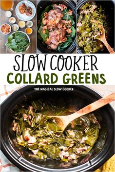 Prepare these easy Slow Cooker Collard Greens recipe for a delicious side. These collards have a smoky ham flavor and a great broth! - The Magical Slow Cooker Collard Greens Recipe Slow Cooker, Collard Greens Recipe Healthy, Collard Greens With Bacon, Southern Collard Greens, Slow Cooking, Vegetarian Cooking, The Magical Slow Cooker, Veggie Dishes, Side Dishes
