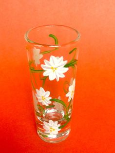 Daisy Floral Hand Painted Shot Glass