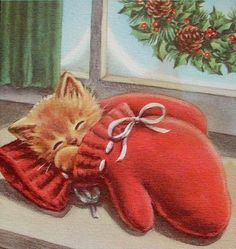 Mitten Nap Cross Stitch Pattern PDF File by lisalskinner on Etsy Vintage Greeting Cards, Vintage Christmas Cards, Christmas Greetings, Christmas Scenes, Christmas Pictures, Christmas Time, Sleepy Kitten, Christmas Kitten, Image Chat