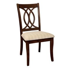 Furniture of America Leon Brown Cherry Fabric Geometric Side Chair (Set of - The Home Depot Furniture Legs, Dining Room Furniture, Room Chairs, Office Furniture, Wooden Furniture, Furniture Board, Furniture Buyers, Furniture Direct, Wooden Chairs