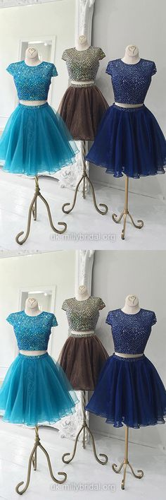 Short Prom Dresses 2018, Cheap Prom Dress For Teens, Two Piece Cocktail Party Dresses Blue, Sexy Homecoming Dresses Simple