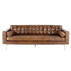 Sofá de 3 plazas fijo de cuero marrón vintage