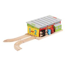 No wooden railway system is complete without a repairs shed! Children can drive two trains in at once and use a range of pieces, including oil and water to fix them! The roof is easily removed and there is plenty to play with, making it a charming addition to any railway. Suitable for children aged 3 years+. Available APRIL: http://shop.bigjigstoys.co.uk/products/productdetail/Train+Service+Shed/part_number=BJT225/12465.0.4.3.1079580.0.0.0.0?pp=20&