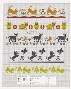 Cross Stitch - Pets - Cats and kittens very easy Knitting Charts, Knitting Stitches, Knitting Patterns, Cross Stitching, Cross Stitch Embroidery, Cross Stitch Patterns, Crochet Cross, Crochet Chart, Fair Isle Chart
