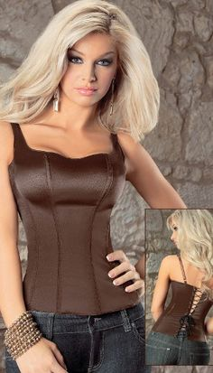 Smooth and very comfortable Corset with supporting wide shoulder straps, side zipper, slimming boning and lace up back from Tesa by Escante.