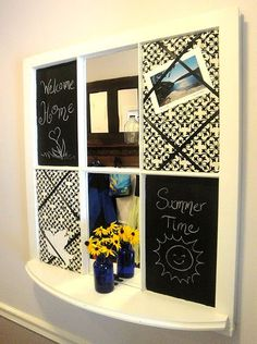 Love this because it's not so officy looking...and the mirror is a great feature!  You could replace one of those chalk boards with a calendar....