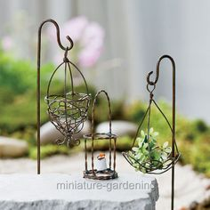 Miniature Fairy Garden Scrolled Garden Hook | eBay. look at lantern in the middle as inspiration for thimble-holder