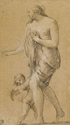 Study of a Female Figure with a Putto (recto); 1630-35; Getty Museum, Los Angeles