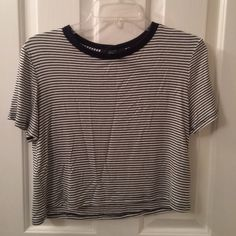 Forever 21 Striped Crop Top Cream and Black crop top. Forever 21 Tops Crop Tops