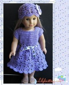 Pattern In PDF Crocheted Doll Dress For American Girl, Gotz, My Twin Or Similar…