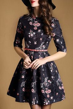 Ladylike Jewel Neck Half Sleeve Floral Print A-Line Dress For Women