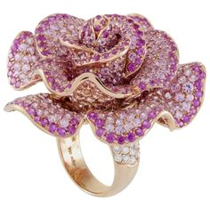 Adler Pink Sapphire Diamond Rose Gold Flower Cocktail Ring | From a unique collection of vintage cocktail rings at https://www.1stdibs.com/jewelry/rings/cocktail-rings/