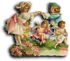 Victorian scrap: Boy, girl and cherubs by Antique Photo Album, via Flickr