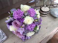 Lilac carnation roses bridal bouquet
