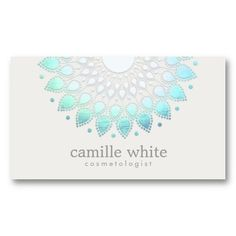 Cosmetology Elegant Circle Light Blue Off-White Business Card