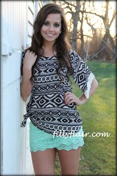 aztec bouse #fringe #aztec  (http://www.fillyflair.com/back-for-more-aztec-blouse-with-fringe-sleeves/)