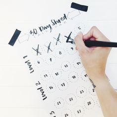30 Day Shred Challenge Calendar (Freebie) #brushelttering #30dayshred