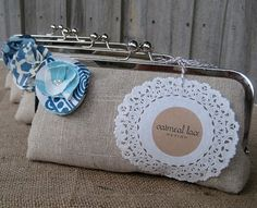 Burlap bridesmaid clutch with doily by Oatmeal Lace Design via Emmaline Bride® - The Marketplace Best Bridesmaid Gifts, Bridesmaid Clutches, Personalized Bridesmaid Gifts, Bridesmaids, Wedding Groom, Our Wedding, Wedding Things, Wedding Clutch, Cute Wedding Ideas