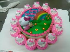 Hello kitty round cake with cupcakes