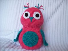 Crochet Owl Stuffed Animal in Coral and by NikkisCraftShoppe, $31.00