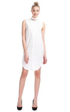 Sleeveless Shirt Dress with a neck peek-a-boo! $330