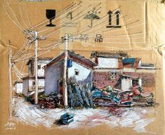 Living in the beautiful old heritage town of Dali, Yunnan Province, China, artist Wenyi creates stunning sketches on the trash she found on the. Dali, Gouache, Illustrations, Illustration Art, Cardboard Painting, Colossal Art, Wall Drawing, High School Art, Urban Sketching