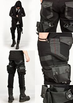 The new Dark Wave Centurty) Attached holster skinny jean pants. Cool Outfits, Fashion Outfits, Womens Fashion, Fashion Clothes, Costume Steampunk, Apocalyptic Fashion, Post Apocalyptic, Cyberpunk Fashion, Character Outfits