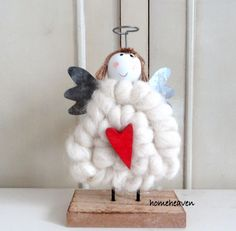 Christmas Angel Ornament Standing Wood cute Decoration Shabby Chic Farmhouse #homeheaven