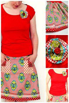 Flora Fox Shirt & Tee Set -- gorgeous fabric design by @Nic Hildebrandt {luzia pimpinella} & #huups