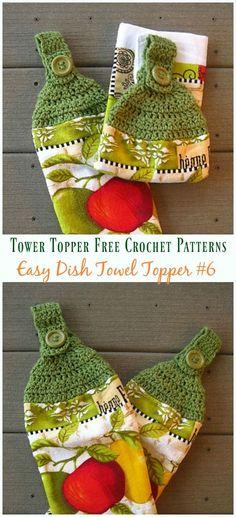 Easy Crochet Dish Towel Topper Crochet Free Pattern - Topper Free - Crochet and Knitting - Crochet Towel Tops, Crochet Towel Holders, Crochet Dish Towels, Crochet Kitchen Towels, Dishcloth Crochet, Crochet Potholders, Crochet Stitches, Crochet Simple, Free Easy Crochet Patterns