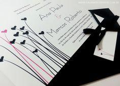 Convite casamento rosa e preto - Galeria de Convites