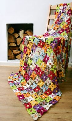 """Crochet Flower Blanket I designed for a book - """"Crochet. Made with merino yarn the flowers are joined as you go. Crochet Flowers, Crochet Projects, My Design, Crochet Blankets, Crochet Patterns, Colours, Quilts, Knitting, Floral"""