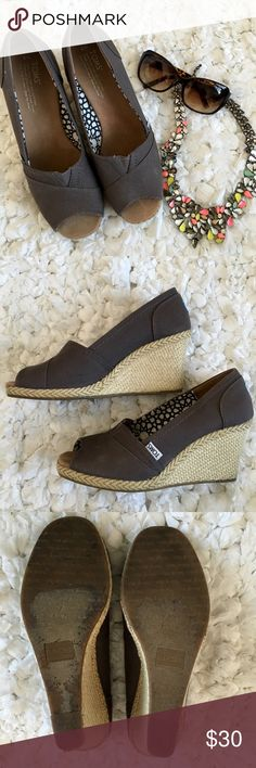 fa76322aec3 Shop Women s Toms Gray size 9 Wedges at a discounted price at Poshmark.  Description  Dark grey toms wedges in size Sold by Fast delivery