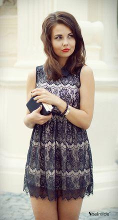 Black Lapel Sleeveless Pleated Lace Dress