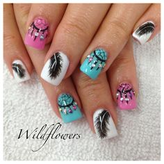 Dreamcatcher nails www wildflowersnails com nailart pretty nail designs dream catcher Fancy Nails, Love Nails, Trendy Nails, Beautiful Nail Art, Gorgeous Nails, Pretty Nail Designs, Nail Art Designs, Dotting Tool Designs, Western Nails