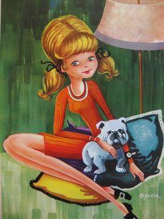 I like my little bulldog, vintage seventies big eyed girl postcard