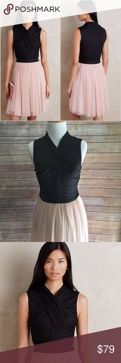 """Anthropologie HD in Paris Tulle Skirt Dress Brand new with tags, HD in Paris for Anthropologie dress. Black wrap top with elastic waist and blush colored lined double layer tulle skirt. Very elegant and pretty. Perfect for wedding season! Length lining 33"""", tulle overlay extends another 3"""", total length 36"""". Waist flat measurement 13.5"""", bust flat measurement 15.5"""".  Top 50% Rayon, 47% Polyester, 3% Spandex, lining 100% rayon, skirt 100% nylon. The dress absolutely has stretch to it…"""
