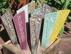 Herb Garden Stakes / Plant Markers A Set of 3 by fromArtisanHands Herb Markers, Plant Markers, Garden Stakes, Herb Garden, Thyme Herb, Green Tea And Honey, Lemon Balm, Window Sill, Kraut