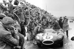 LM 1955 ♦ Mike Hawthorn - standing on the pit wall -  prepares to celebrate his victory, while the Jaguar D-Type Jaguar rests from a job well-done.