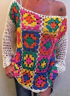 Best Selling Outwear – Page 2 – Jollyclo Crochet Squares, Crochet Granny, Knit Crochet, Poncho Pullover, Cardigan, Long Sleeve Vintage Dresses, Crochet Summer Tops, Crochet Blouse, Crochet Fashion