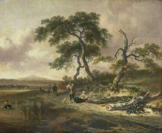 Jan Wijnants | Landscape with a Peddler and Woman Resting, Jan Wijnants, 1669 | Landschap met een marskramer die een praatje maakt met een rustende vrouw die bij boomstammen naast de weg ligt. Meer naar achteren komen andere figuren over de weg. Links een vissende man met een hengel.