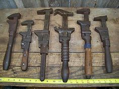 6 Antique Monkey Wrenches ~ Old Vintage Farm / Mod T Auto Tools Industrial Decor