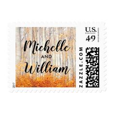 Rustic Country Autumn Fall Leaves Postage - autumn wedding diy marriage customize personalize couple idea individuel