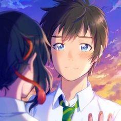 Taki e Mitsuha Kimi no Na wa 19 Wallpaper Casais, Kimi No Na Wa Wallpaper, Your Name Wallpaper, Couple Wallpaper, Anime Chibi, Kawaii Anime, Manga Anime, Anime Couple Love, Couple Manga