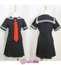 [Set] Sailor Collar School Black Uniform Suit with Red Tie Cosplay Costume SP140987