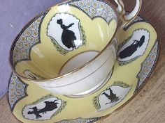 Aynsley 1920's Victorian Silhouettes teacup and saucer
